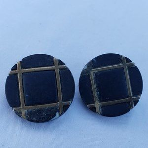 Black Gold Button Clip-On Earrings